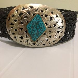 Chico's silver turquoise buckle braided leather